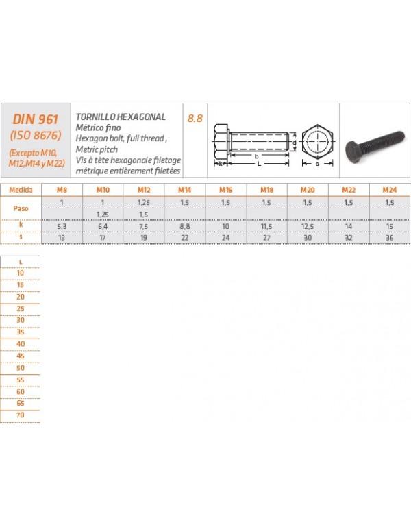 TORNILLO HEXAGONAL Métrico fino DIN 961 (ISO 8676)