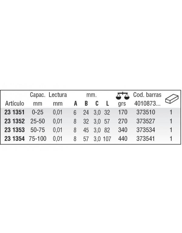 Micrómetro de exteriores DIN 863