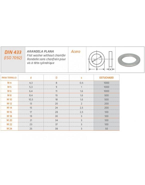 ARANDELA PLANA DIN 433 ISO 7092
