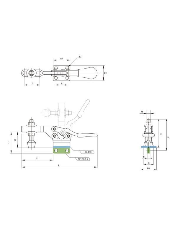 Brazo horizontal, apriete vertical Series HH 450