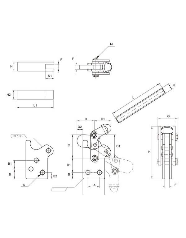 Brida 'Vari', apriete vertical Series VARI (1X · 2X · 3X)
