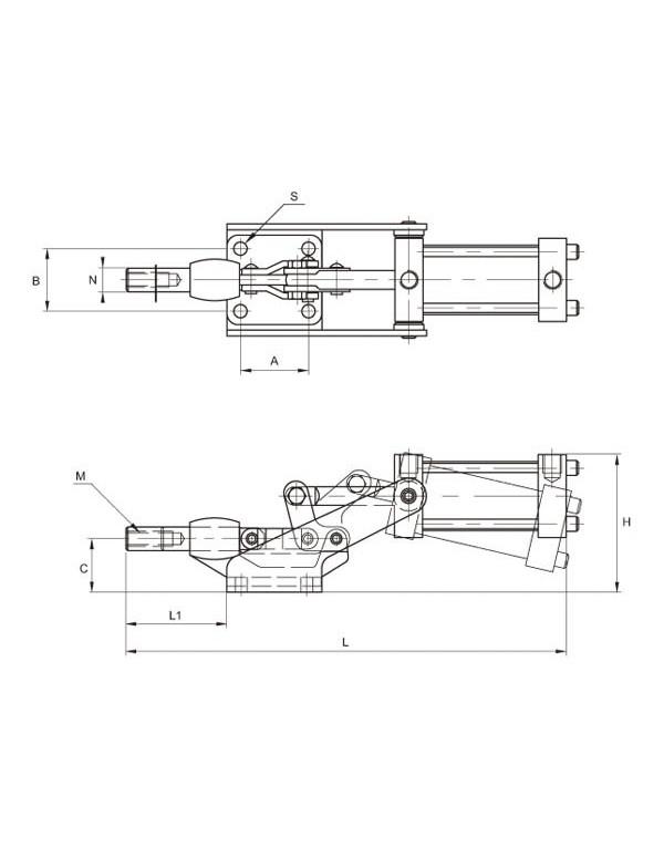 Brida neumática, apriete horizontal AC 100-SL