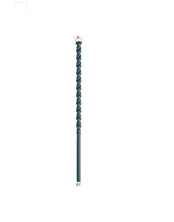 Broca para hormigon extra larga punta de metal duro y mango hexagonal ISO 5468 - DIN 8039